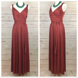 Vintage Satin Rust Surplice Draped 70's Maxi Dress